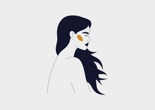 Strong woman with flowing long hair side view portrait. Silhouette of the female with closed eyes. Concept of mindfulness and self love. Vector linear illustration