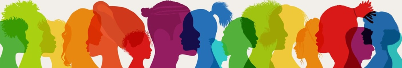 Diversity multiethnic people. Racial equality. Group side silhouette men and women of diverse culture and different countries. Coexistence harmony and multicultural community integration - fototapety na wymiar