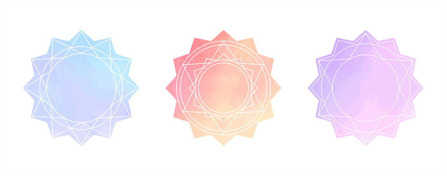 Gradient watercolor vector geometric mandala set, round text frames. Circle, polygon star shape. Colorful light blue, lilac, pink watercolour stains texture. Hand drawn painted esoteric backgrounds.