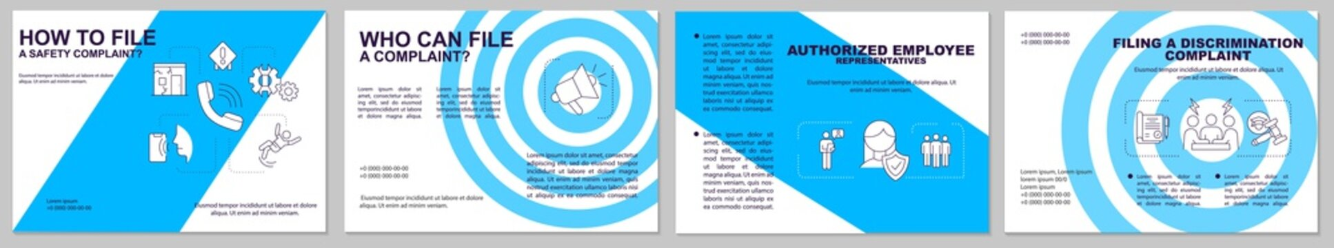 Safety complaints filing brochure template. Workplace violence. Flyer, booklet, leaflet print, cover design with linear icons. Vector layouts for magazines, annual reports, advertising posters