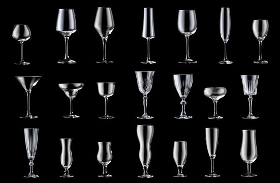 Collage of different empty glasses on dark background