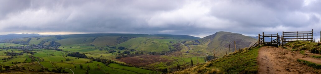 View of Mom tor in Peak district, an upland area in England at the southern end of the Pennines