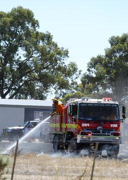 Fire truck at grass fire