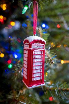 Red Phone Box Christmas Ornament