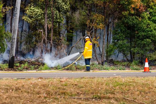 fireman putting out bushfire