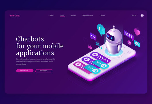 Mobile chatbot app isometric landing page, application for sms messaging, smartphone interface with chat bot messages at screen. Media communication with artificial intelligence 3d vector web banner