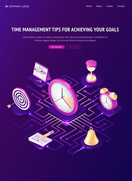 Time management tips isometric landing page, work organization, goal achievement concept. Watch, hourglass, bell, target, calendar and alarm clock with to do list stand on circuit 3d vector web banner