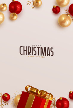 Merry Christmas and Happy New Year. Xmas Background design red realistic gifts box, golden balls and glitter gold confetti. Christmas poster, holiday banner. Greeting card
