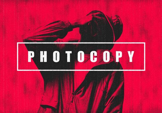 Bad Photocopy Photo Effect Mockup