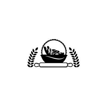 Bread basket logo - vector illustration. Bakery emblem design, Icon or symbol for design menu restaurant, cooking club, food studio or home cooking.
