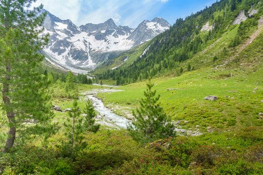 Hochgebirgstal im tiroler Zillertal mit Gletscher im Hintergrund