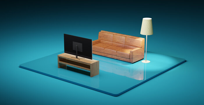 3D illustration with living room and tv