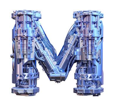 Letter M 3D logo. Cyber technology alphabet font, modern digital typography. Robotic machine device tech style ABC typeface mechanical lettering isolated. Hi tech metallic letter M design illustration