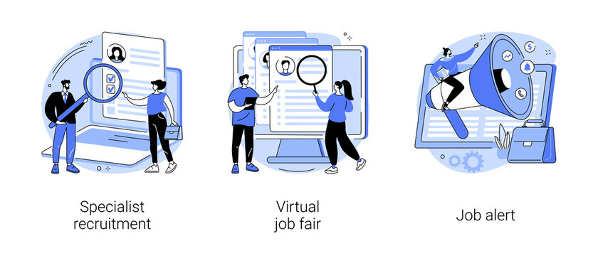 Headhunting abstract concept vector illustration set. Specialist recruitment, virtual job fair, job alert, human resources, digital hr, job offer, work opportunity information abstract metaphor.