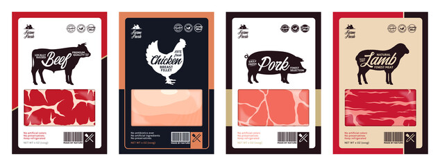 Vector butchery labels with farm animal silhouettes. Cow, chicken, pig and sheep icons and meat textures for groceries, meat stores, packaging and advertising