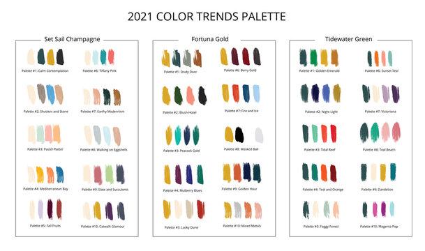2021 color trends palette on brush strokes. Vector stok illustration isolated on white background.