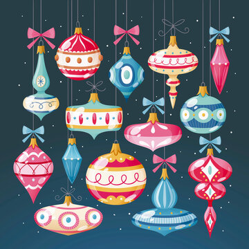 Christmas decorative elements hanging on strings. Isolated elements on dark background. Colorful vector illustration.