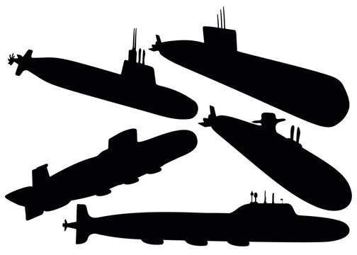Military submarines in the set. Vector image.