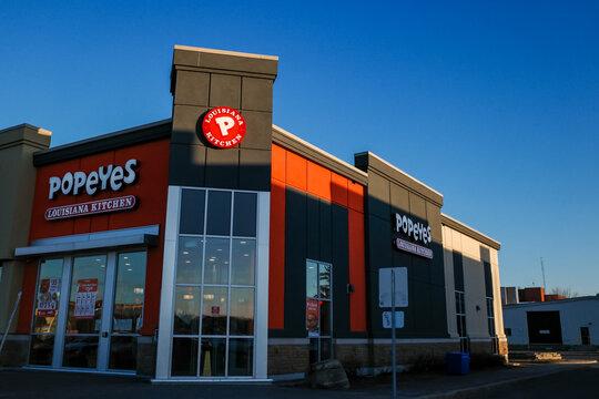 Popeyes Louisiana Kitchen restaurant in Ottawa, Ontario, Canada on November 18, 2020.