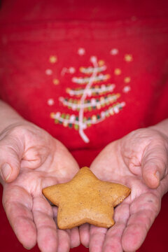 Star-shaped gingerbread cookie on red Christmas background