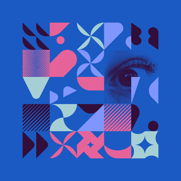 Generative Design Artwork of Abstract Vector Generated Shapes Composition