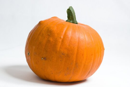 Orange pumpkin isolated on white background - concept for Thanksgiving or Halloween.