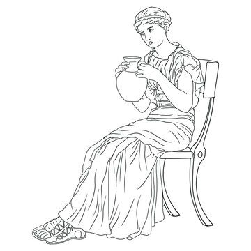 A young Girl in an ancient Greek tunic sits on a chair and drinks wine from a jug.Figure isolated on white background.