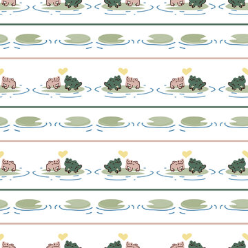Cute frog lovers on lily pad vector pattern. Wildlife pond amphibian home decor with cartoon lake toad. Seamless croaking fauna all over print.