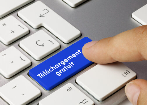 Téléchargement gratuit - Inscription sur la touche du clavier bleu.
