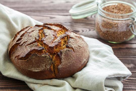crunchy circle buckwheat flour bread