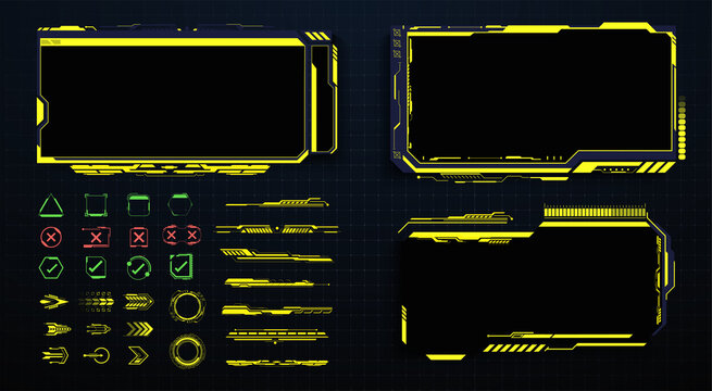 Screens HUD, UI, GUI futuristic interface. Callouts titles. Head up screens for video games, apps, movie. frame in Sci- Fi style. Bar labels, info call box bars. Futuristic info boxes layout templates