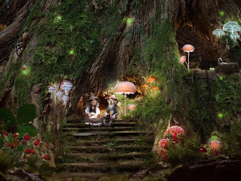 Fairy-tale life of little men. Dwarves, magic forest