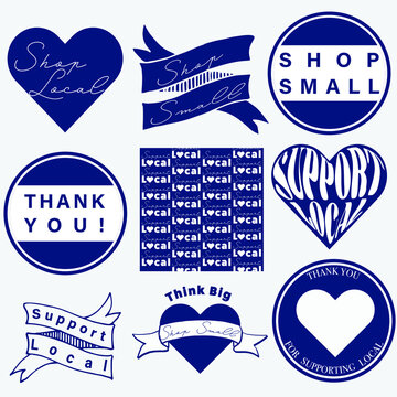 Set of labels, Small Business Saturday, Shop Small, Support Local, Vector Labels.