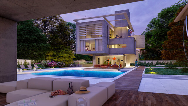 Modern house with lounge area by the pool