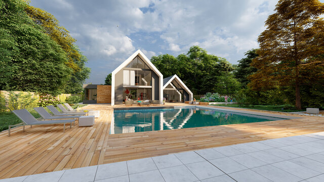 Modern pitched roof villa with pool and garden