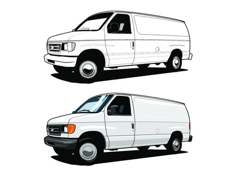 van vector illustration. delivery van white in line drawing and color customize.