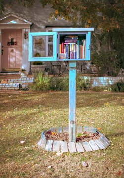 Homemade book box library in font yard of residential house open and full of books with a plastic container of dog treats with house and autumn tree behind
