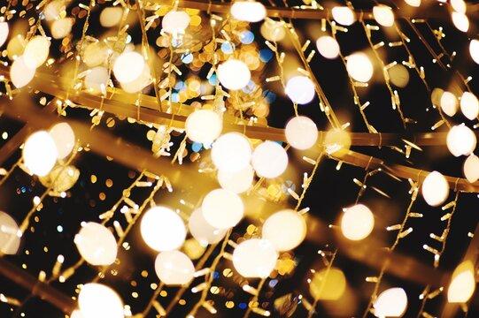 Full Frame Shot Of Illuminated String Lights