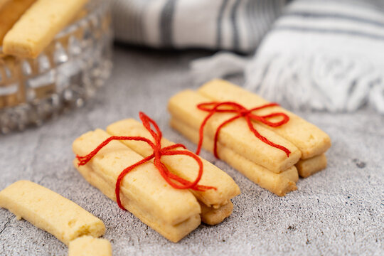 Homemade parmesan cheese cookie sticks ready to serve