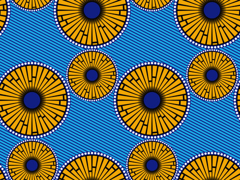 African Wax Print fabric, Ethnic handmade ornament seamless design, Afro Ethnic flowers and tribal motifs geometric elements. Vector texture, Africa striped in blue color textile Ankara fashion style