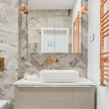 Bathroom with copper decorations