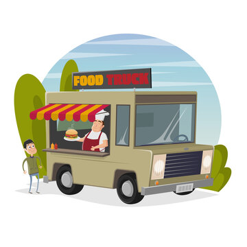food truck cartoon illustration with happy chef serving a burger to a hungry man