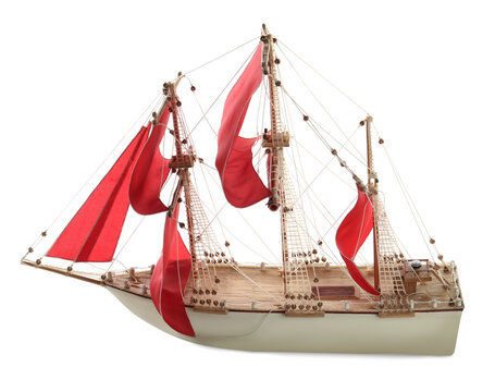 Beautiful small ship model isolated on white