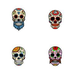Abstract Sugar Skull Vector Set Eps 10