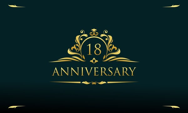 Luxury gold 18th anniversary logo template