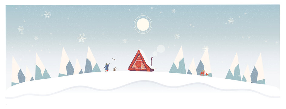 Vector Illustration of lonely in winterSelf Isolation Cabin in the snow