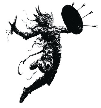Valkyrie rushing into battle, in an epic leap with a sword and shield in which arrows stick out, she wears a helmet with wings, armor, her hair fluttering in the wind. 2D illustration