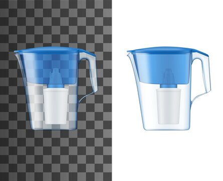 Water filter pitcher or jug realistic mock-up. Home water treatment and purification plastic pitcher filter with activated carbon cartridge and blue lid 3d vector template or mockup