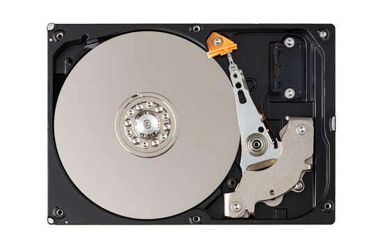 disassembled hard disk drive isolated on white background