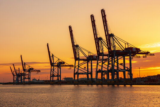 Beautiful sunset at a seaport with container cranes